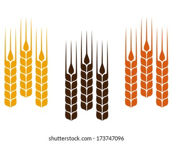 set of simple colorful wheat ears