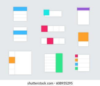 Set of Simple Colourful Vector Text Boxes With Shadows A