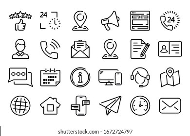 Set of simple Contact us icons  for web and mobile app. Social Media network icon call us email mobile signs. Customer service. Contact support sign and symbols