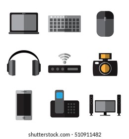 Set of simple devices flat icons on white background vector illustration