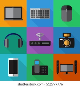 Set of simple devices flat icons on color squares vector illustration