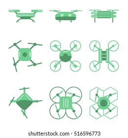 Set of simple different drones on isolated background. Drones in green colors, different views.