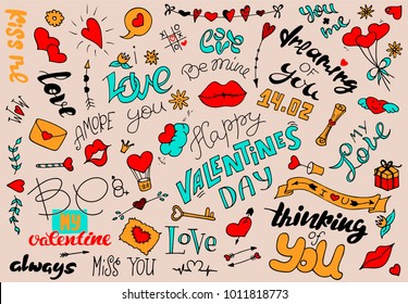 Set Simple Drawings Doodle Style Valentines Stock Vector Royalty