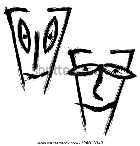 set simple drawings emotional faces のベクター画像素材