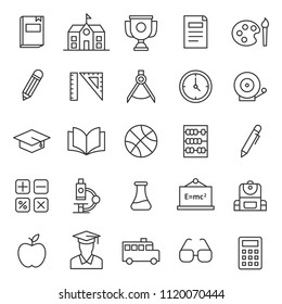 set of simple education black line icon with modern concept and editable stroke, use for website asset and infographic pictogram. Lesson, Study, Learning, Courses, Elearning.