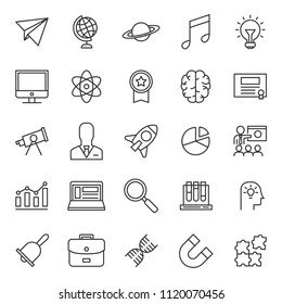 set of simple education black line icon with modern concept and editable stroke, use for website asset and infographic pictogram. Lesson, Study, Learning, Courses, Elearning. - Shutterstock ID 1120070456