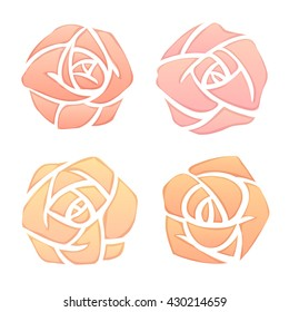 Set of simple elegant roses, watercolor painting imitation. Isolated hand drawn vector illustration.
