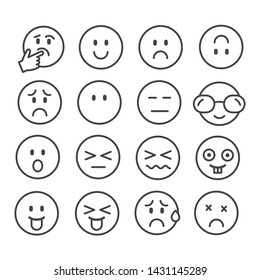 Set of simple emoticon outline icon in cartoon isolated on white background