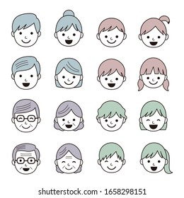 Set of simple family face icons / vector eps 10 illustration