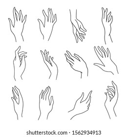 Set of simple female hands art drawings symbols or signs