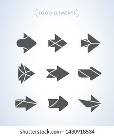 Set of simple flat arrows. Logo icon collection 03. Vector illustration on white background