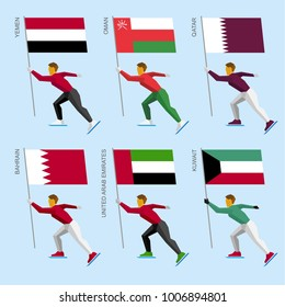 Set of simple flat athletes skating with flags of Middle East countries. Standard bearers of Yemen, Oman, Qatar, United Arab Emirates (UAE), Kuwait, Bahrain. Winter sport competition icon set.