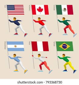 Set of simple flat athletes skating with flags of American countries. Standard bearers of United States, Canada, Mexico, Argentina, Peru, Brazil. Winter sport competition icon set.