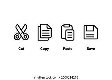 Set of Simple Flat Copy Paste Icon Illustration Design, Copy Paste Symbol Collection with Outlined Style Template Vector