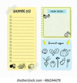 Set of simple flat design memo pages. To do. Shopping list. daily planner.