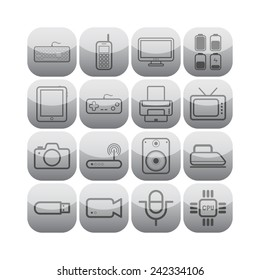 Set of simple flat icons with electric devices