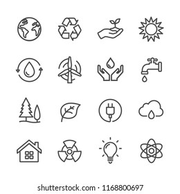 Set simple flat lines icon related of ecology