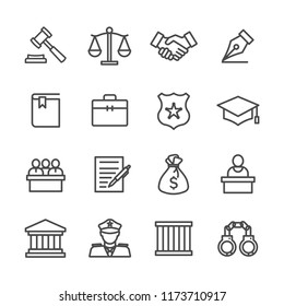 Set simple flat lines icon of law related