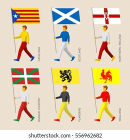 Set of simple flat people with of some European regions. Standard bearers infographic - Catalonia, Basque Country, Scotland, Northern Ireland, Flanders, Wallonia (Walloon)
