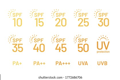 Set of simple flat SPF sun protection icons for sunscreen packaging. UV protection for skin. Icons for sunscreen products or other skin cosmetics. - Vector illustration
