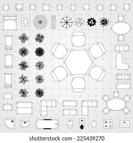 Set of simple flat vector icons furniture for floor plan outline. Editable EPS10 vector illustration