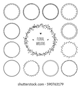 Set of simple floral spring wreaths. Vector round wreaths isolated on white, black and white garland with flowers.