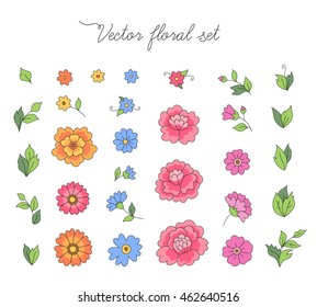 A set of simple flowers and leaves for design and decoration. Vector illustration isolated on white