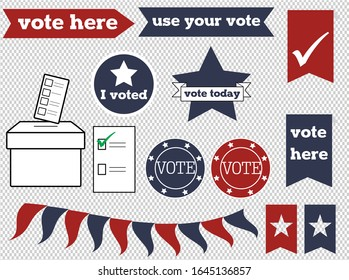 A set of simple fully editable voting and ballot paper vector graphics