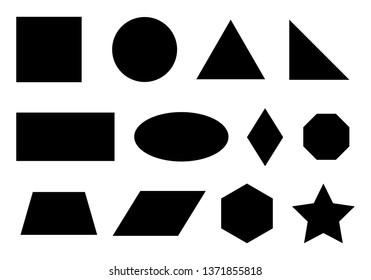 Set of simple geometric shapes including major ones: rectangle, circle, triangle.