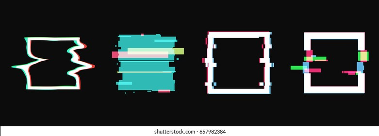 Set of simple geometric square form, frames or border in distorted glitch style. Modern trendy background shapes for design banner, poster, cover, flyer, brochure, card. Vector illustration.