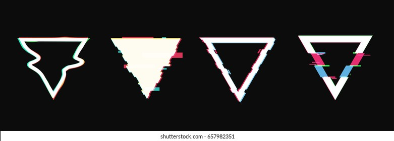 Set of simple geometric triangle form, frames or border in distorted glitch style. Modern trendy background shapes for design banner, poster, cover, flyer, brochure, card. Vector illustration.