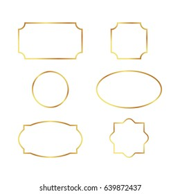 Set of simple gold frames isolated on white background. Border, divider, label for your design menu, website, certificate and other documents
