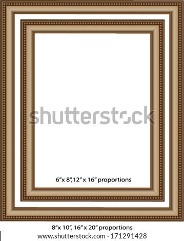 Set Simple Gold Frames Proportioned 8 X 10 Stock Vector Royalty