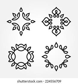 Set of simple and graceful monochrome monogram design templates, Elegant lineart logo design elements, vector illustration