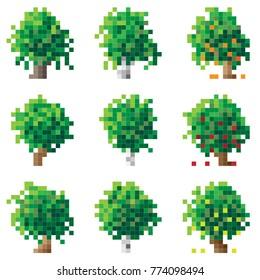 Set of simple green pixel tree birch, oak, apple-tree (16x16 cells).