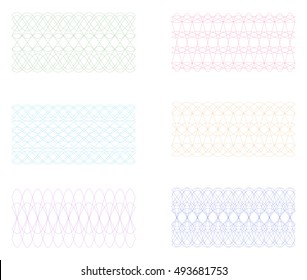 Set of Simple Guilloche Seamless Border