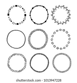 Set of simple hand drawn circle frames . Round doodle vector sketch template