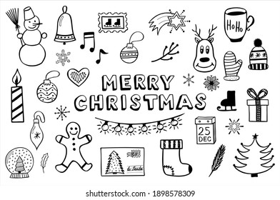 Set of simple hand drawn vector illustrations in black and white doodle style Marry Christmas