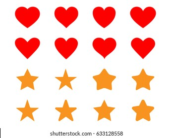 Set of Simple Heart and Star icon