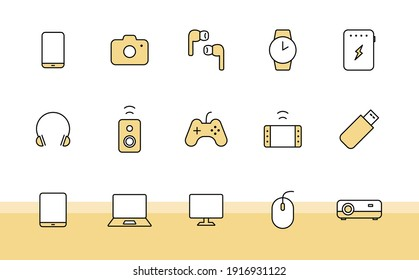 Set of simple icons for digital devices and gadgets