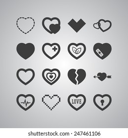 Set of simple icons with heart for Valentine's day, web design, sites, applications, games and stickers
