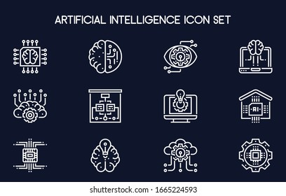 Set of simple icons on a theme Artificial intellect, mind, technology, vector, set