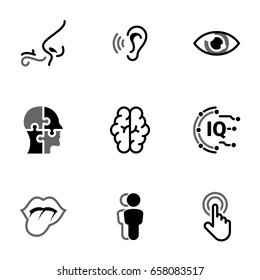 Set of simple icons on a theme Sense organs, man, mind, processing, perception, intellect , vector, set. Black icons isolated against white background