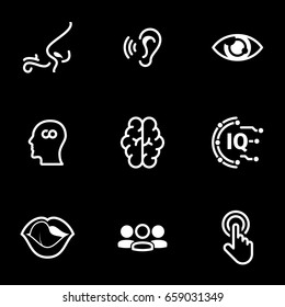 Set of simple icons on a theme Sense organs, man, mind, processing, perception, intellect , vector, set. White icons isolated against black background