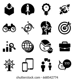 Set of simple icons on a theme start up, Project, business, vector, design, flat, sign, symbol, object,element,  illustration. Black icons isolated against white background