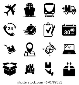 Set of simple icons on a theme Transportation, logistics, cargo, vector, design, flat, sign, symbol,element, object, illustration. Black icons isolated against white background