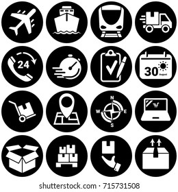 Set of simple icons on a theme Transportation, logistics, cargo, vector, design, flat, sign, symbol,element, object, illustration. White background