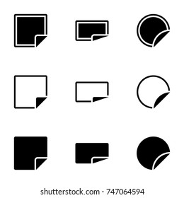 Set of simple icons on a theme paper with folded corners of the page, vector, design, collection, flat, sign, symbol,element, object, illustration, isolated. White background