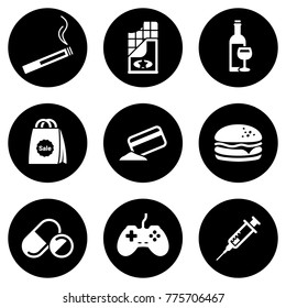 Set of simple icons on a theme Addiction, vector, design, collection, flat, sign, symbol,element, object, illustration, isolated. White background