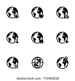 Set of simple icons on a theme Globe earth, vector, design, collection, flat, sign, symbol,element, object, illustration, isolated. White background